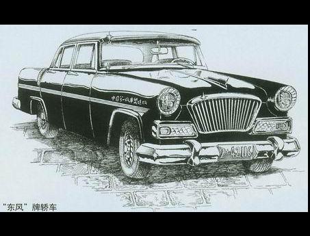 图为东风牌轿车手绘图