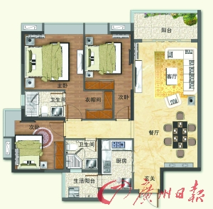 新茅岗户型图120平方米三房两厅两卫单位.图片