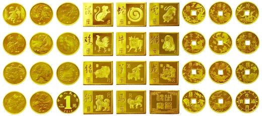 央行首轮《十二生肖黄金邮票,通宝,纪念币大全套》震撼发行