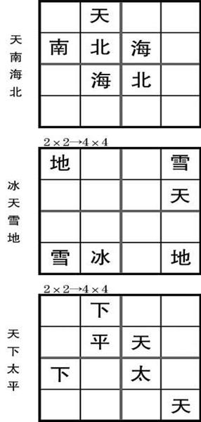 请把成语中的四个汉字填满汉字方阵