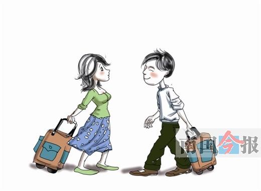 拉行李箱的女人手绘图片
