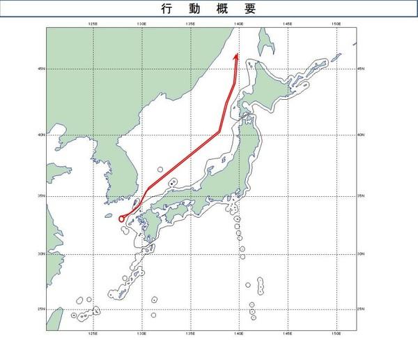 日方绘制出的俄军机飞行线路示意图