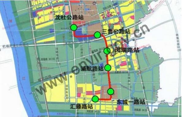 图说:8号线三期线路走向示意图.图片来源:上海环境热线-沪新建四图片