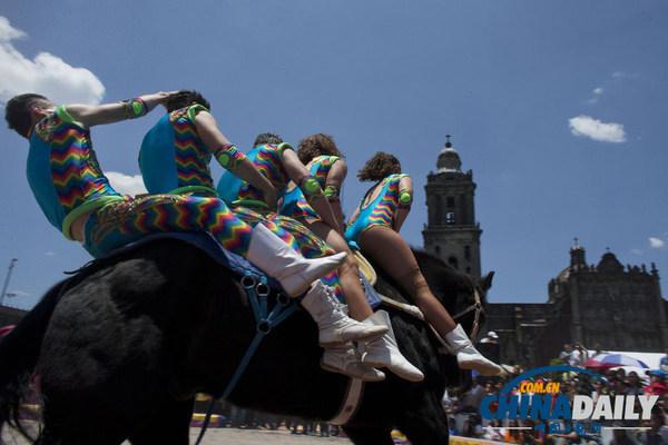 墨西哥马戏团抗议禁止使用动物 街头表演引围观