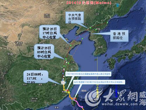 7月24日08时台风位置及未来移动路径预报-台风 麦德姆 25日来山东 中