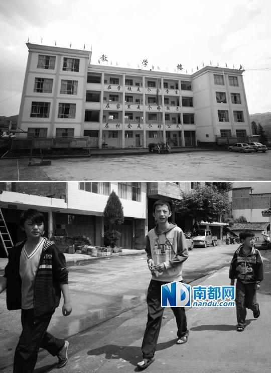 鲁甸县龙树乡龙树中心校主教学楼在地震中受损轻微,不影响使用.-图片