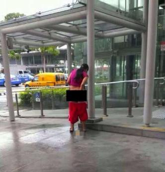 新加坡当街大便女子系新加坡人