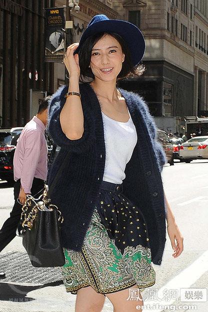 高圆圆纽约时尚街拍图片