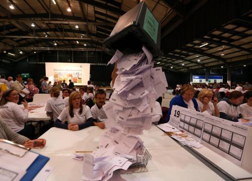 资料图:苏格兰公投计票进程超过2/3。