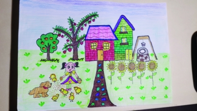 秋天玉米儿童画