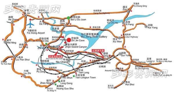 织金洞旅游交通路线图
