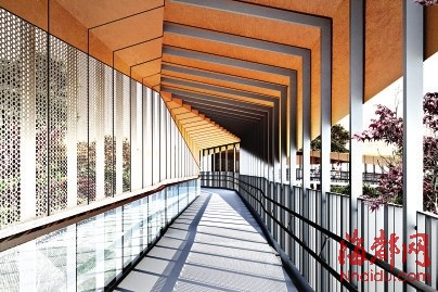 步道的栈道架设风雨廊 (效果图)-凌空漫步一览榕城美