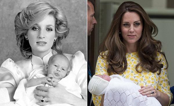 984年10月戴安娜王妃怀抱刚出生不久的哈里王子,右图为凯特王妃