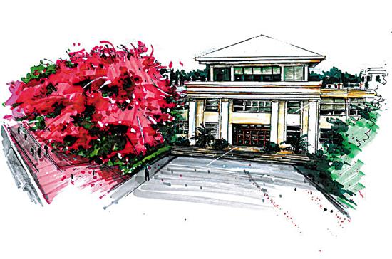 其毕业设计就是17幅手绘母校建筑景观的作品.