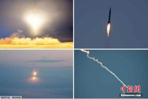资料图:朝鲜进行导弹试射训练的画面。