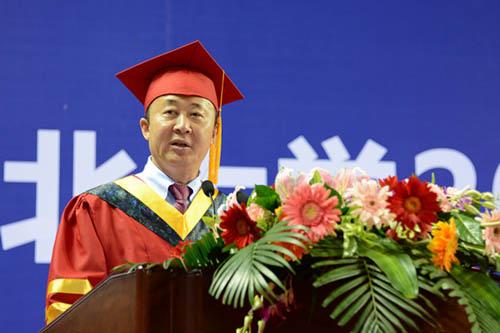 东北大学校长赵继寄语毕业生。图片来源:东北大学网站