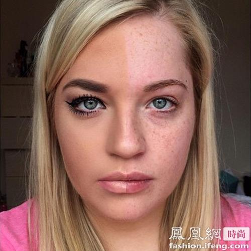 妆前妆后 面部有很多小雀斑,经过遮瑕和粉底容貌清晰无瑕,眼妆和眉型