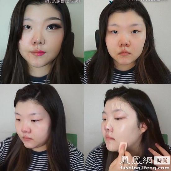 韩国女生惊人示范 整形级半脸妆