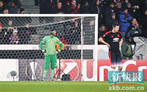 ■北京时间2月19日2:00,欧联杯1/16决赛首回合,曼联客场1∶2不敌中日德兰。新华社发