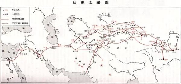 丝绸之路示意图