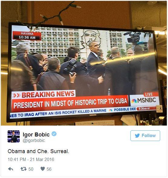 奥巴马站在切·格瓦拉壁画前拍照 网友:我的天哪(图)3
