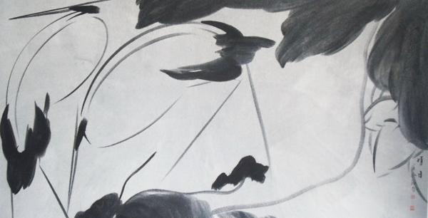 圆形画鹤国画图片