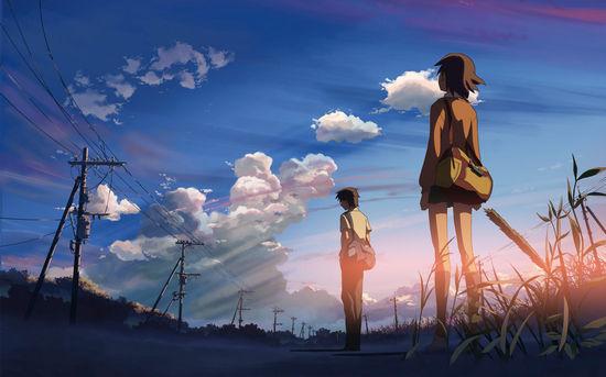 《秒速五厘米》剧照,新海诚的影像风格以唯美绚烂见长,他说这与自己出生在风景秀美的日本长野有关系。