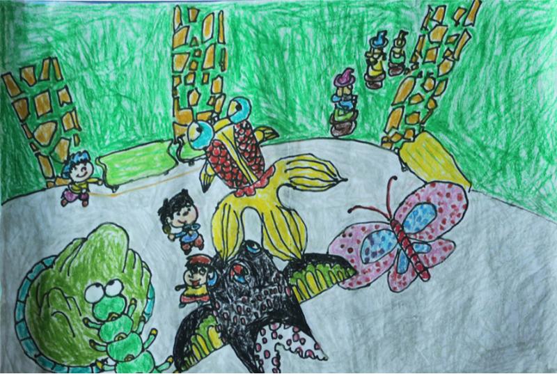 绘画小孩背影放风筝展示