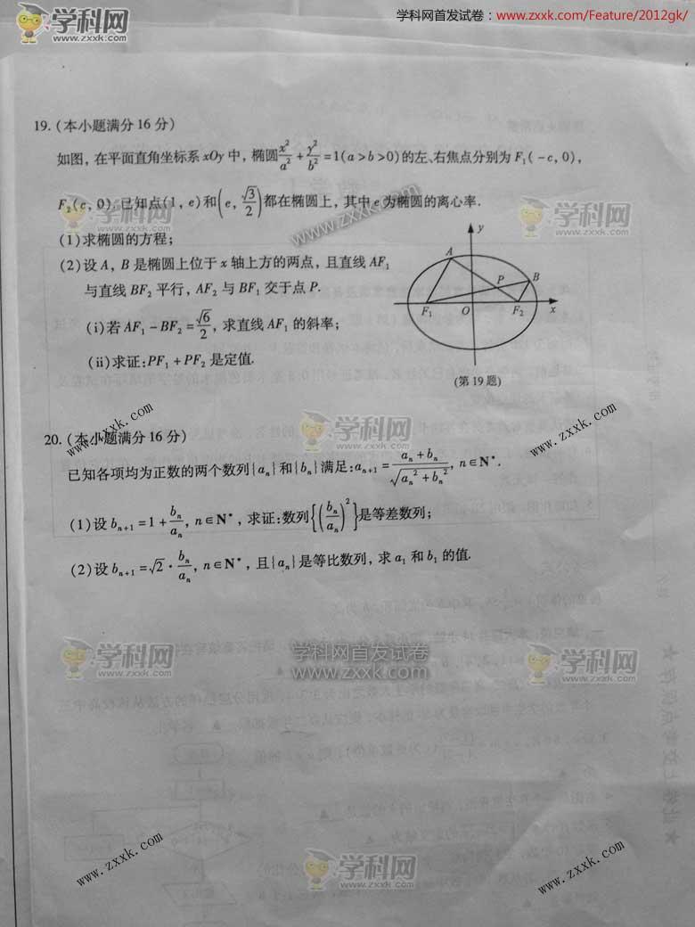 2012年江苏高考数学试卷