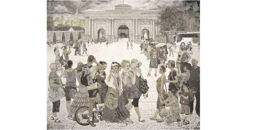 """《百年回望》175x200获""""2011中国百家金陵画展(中国画)""""金奖"""