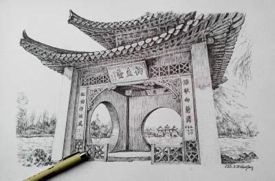 王鹏画的第一个扬州古建筑钢笔画是莲花桥,也就是家喻户晓的五亭桥.