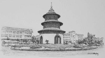 """扬州的""""黑白""""之美:55幅钢笔画展现扬州古建筑和民俗"""