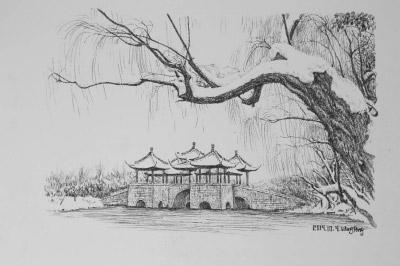 """扬州的""""黑白""""之美:55幅钢笔画展现扬州古建筑和民俗图片"""