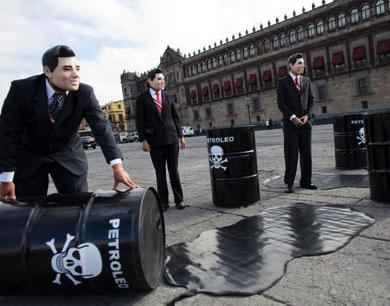 绿色和平组织扮墨西哥总统抗议