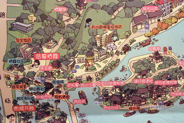 江南忆最忆是杭州 萌萌哒杭州手绘地图