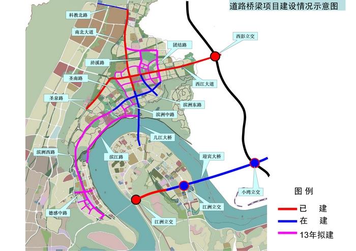 道路桥梁项目示意图 江津滨江新城 重庆二环线上的璀璨明高清图片