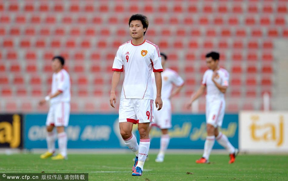 2013年1月30日,国足热身赛,阿曼1-0中国。图为郜林很郁闷。