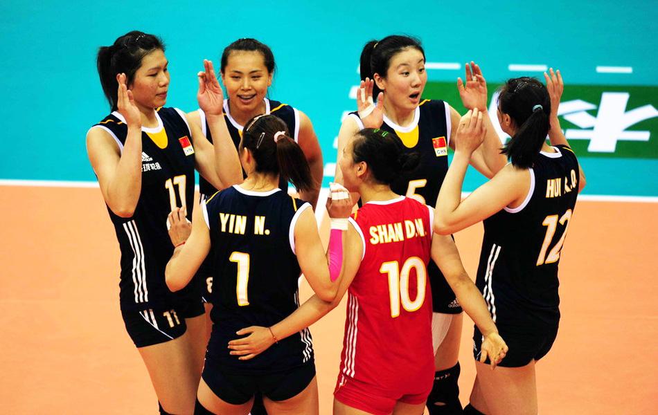 2013年5月23日,2013年中国国际女排精英赛深圳站,中国在先高清图片