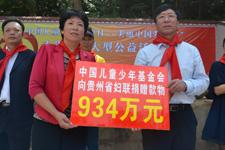 中国儿童少年基金会向贵州省妇联捐助款物934万元