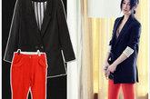 宽松的休闲西装从来都是欧美范儿的一个icon,配上糖果色裤子,简单干练,又休闲舒适。