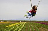 来自塞勒姆市的4岁女孩Olivia Bellin玩空中弹跳。她每年都和妈妈来郁金香农场旅行。该农场整个四月都对外开放,以40多英亩的郁金香花、漂游、品尝美食以及庆祝活动为特色。
