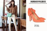 蝴蝶结尖头高跟鞋是许多明星的心头之好,搭配紧身的铅笔裤穿,非常时髦。