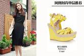 黄色坡跟鞋可以轻松营造俏皮和可爱,不要再单调的黑白配了,偶尔配双明亮的彩色坡跟鞋,又是一种新的尝试!