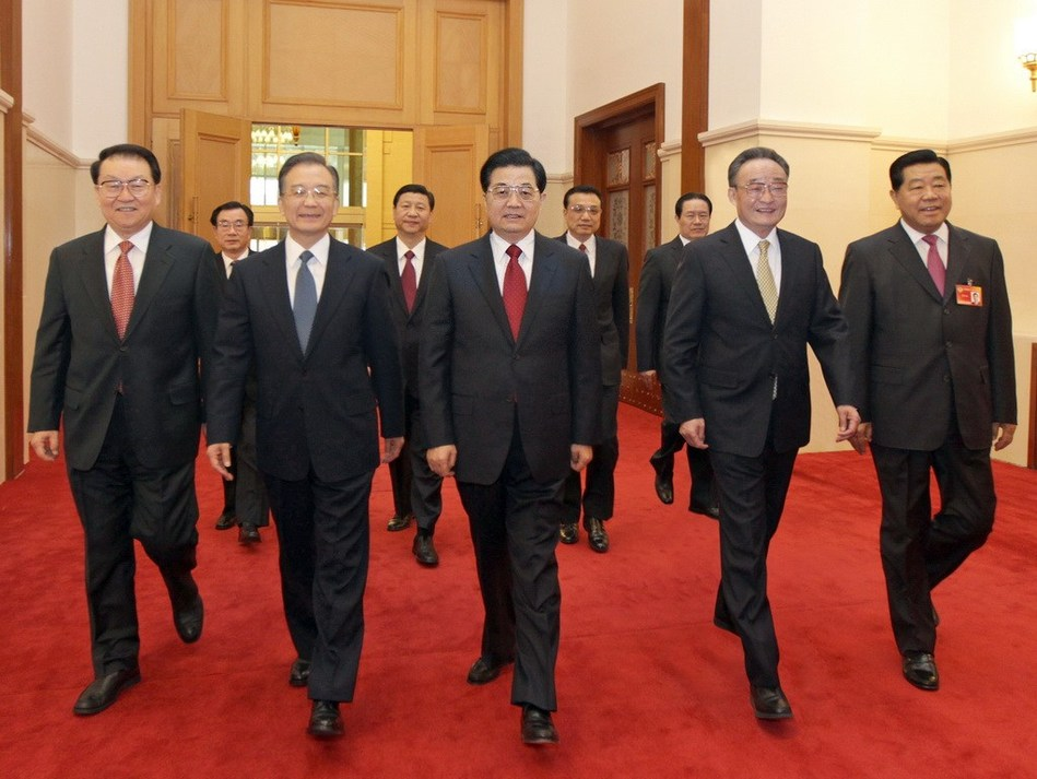 开幕.图为党和国家领导人胡锦涛、吴邦国、温家宝、贾庆林、李长图片