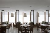 """西餐厅的色彩组合汲取了大自然的造物灵感,让整个以""""自然海洋""""的主题风格更加形象化。色彩的过渡带动材质的变化,带有反射光泽的玻璃与粗糙的石材表面和天然亚麻材质形成对比;高光泽度的石材又与渐层木纹表面形成强烈反差,丰富了简约场域里的空间层次。"""
