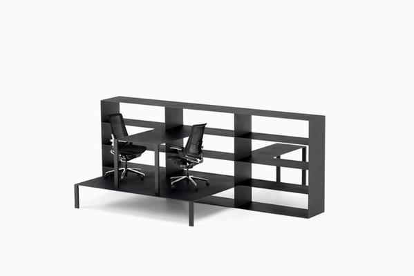 把桌子和书架连在一起 nendo重构办公空间
