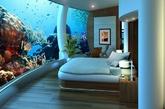 """海底酒店:为了给游客们提供前所未有的体验,斐济正在建造一处""""海神""""水下度假村。这个度假村位于斐济一座私人岛屿附近海域约12米的水下。除了25个住宿套间、餐厅、酒吧、健身房,这里还将包括一间可以举行婚礼的教堂。这个水下度假村的创意来自美国潜艇公司老板布鲁斯·琼斯,近年来一直在施工。目前布鲁斯和他的合伙人正在筹措资金,希望这个大工程能在两年内竣工。度假村的建造采用了很多树脂玻璃结构,让游客充分欣赏周围的热带鱼和珊瑚礁等海洋美景,拉下百叶窗后又可以充分保护个人隐私。游客从岛屿岸边乘坐电梯直达水下度假村,花1.5万美元可以在这里住上一周。度假村表示他们的设计绝对安全,游客住在里面不需要有任何顾虑。提前公布的艺术效果图展现了住客将在这个独特度假村里欣赏到的美景。(实习编辑:周芝)"""