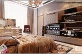 第三个卧室由设计师Shirinov设计完成。超大号的熟成为卧室里最大的亮点,巧克力棕色的床上用品和金属质感墙面完美融合,来一场现代灰姑娘的梦吧。(实习编辑:张曦)