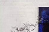 荧光蓝的瓶子和壁上的画幅相映衬,一段舒雅有序树枝置于瓶中,映衬在白色砖墙之上。桌椅均是深色木,一切浑然天成。(实习编辑 孟璇)