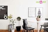 二、宜家风格北欧感餐厅。白色郁金香桌子,经典宜家款,加上黑色温莎椅,与墙面黑白装饰画呼应结合。铁桶花器也带来一丝趣味。